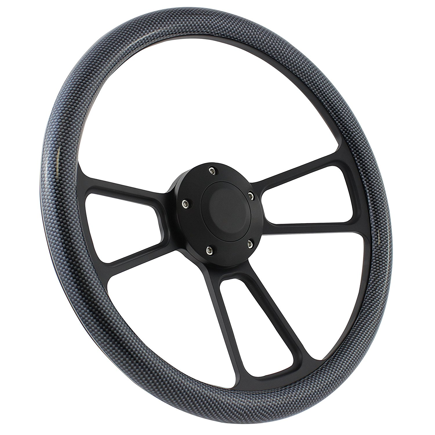 5-bolt Steering Wheel 14 Inch Aluminum with Orange Wrap and Horn