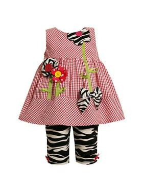 Little Girls 2T-6X 2-Piece Fuchsia-Pink Flower Stem Seer Sucker Dress/Legging Set, 4T [BNJ07428]