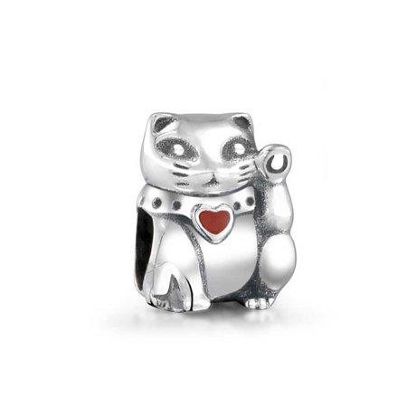 Rembrandt Cat Charm - Bling Jewelry 925 Silver Good Luck Charm Red Heart Lucky Cat Bead Fits Pandora
