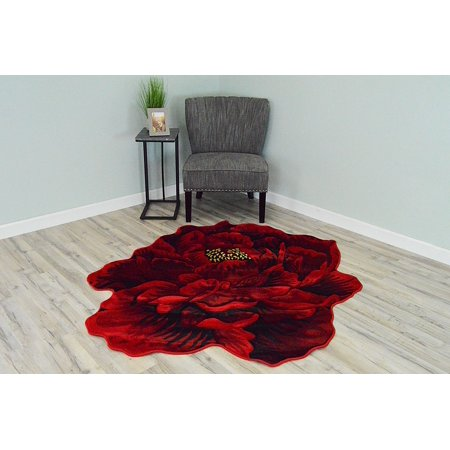 FLOWERS 3D Effect Hand Carved Thick Artistic Floral Flower Rose Botanical Shape Area Rug Design 302 Red 2