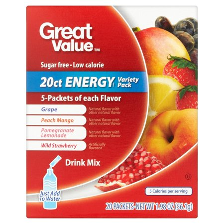 Great Value Energy Variety Pack Drink Mix  20 Count  1 98 Oz