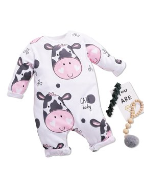 Adorable Calf Printed Long-sleeve Jumpsuit for Baby