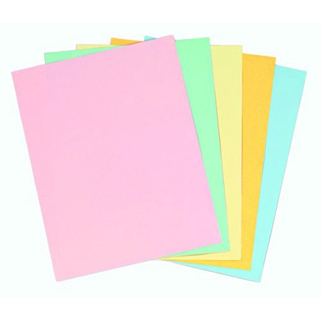 Staples Pastels Colored Copy Paper, Assorted, 8.5 x 11 inch Letter Size, 20lb Density, 30% Recycled, Acid-Free, Pink Green Gold Blue Canary Yellow, 400 Total Sheets (Recycled Pastel)