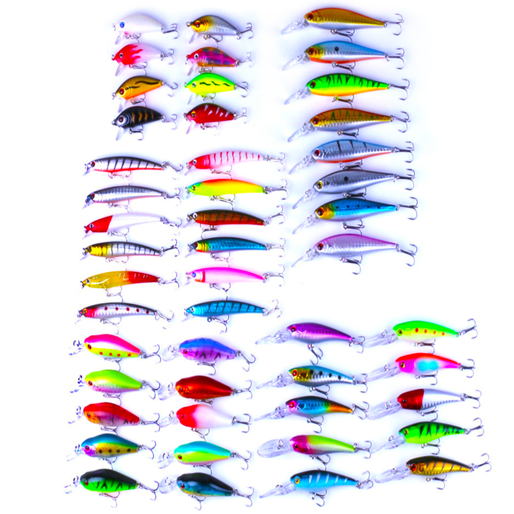 48Pcs 5 Models Colorful Fishing Lure Artificial Minnow Hard Baits Imitation Fish Shape Lure with Dual Fishhook by