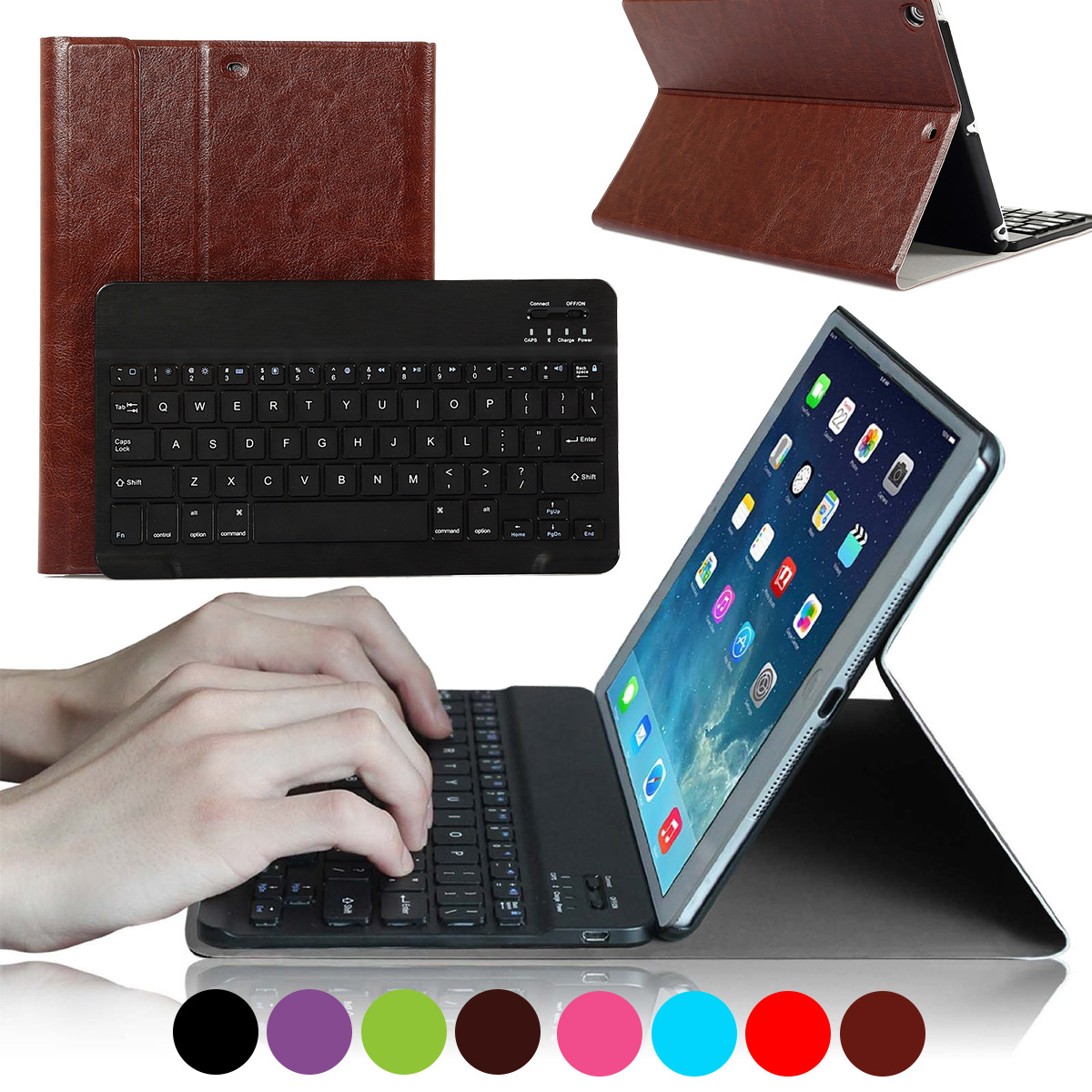 CoastaCloud Bluetooth Keyboard FOR NEW Apple iPad 2017/ipad air 1 Wireless Removeable Keyboard 9.7 inch with Stand Folio Case Cover Rechargeable USB Cable PU Leather