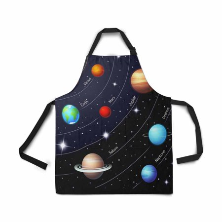 ASHLEIGH Solar System Orbit Twinkling Night Sky Star Apron for Women Men Girl Chef with Pockets Sun Earth Mar Mercury Jupiter Saturn Uranus Neptune Bib Apron Kitchen for Cooking Baking Painting