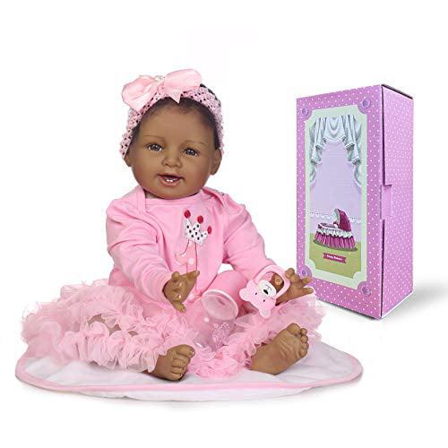 "Black African American Reborn Baby Girl Dolls 11/"" Full Body Vinyl Silicone Soft"
