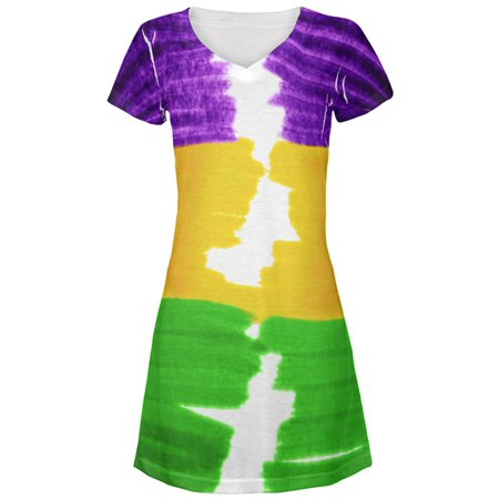 Mardi Gras Color Me Cajun All Over Juniors Beach Cover-Up - Mardi Gras Dress Up Ideas