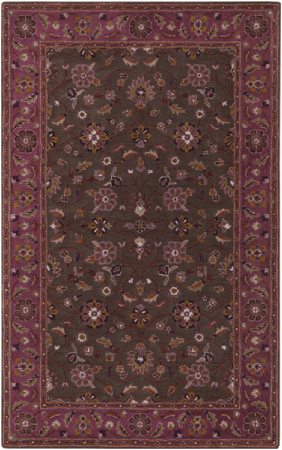10' x 14' Protipo Floral Chocolate Brown and Violet Quartz Hand Tufted Wool Area Throw Rug by Diva At Home