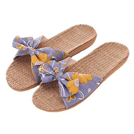 9549d290b25f8d xsby - xsby Women's Open Toe House Slippers Cotton Striped Spa Slippers  Casual Memory Foam Arch Support Home Slippers Grey 39-40 - Walmart.com
