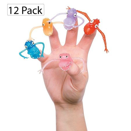 Monster Finger Puppets - Pack Of 12 - 2 Inches Assorted Colors Cool Creepy Finger Monsters - For Kids Great Party Favors, Bag Stuffers, Fun, Toy, Gift, Prize, Puppet Show, Halloween - By Kidsco (Paper Bag Puppets For Halloween)