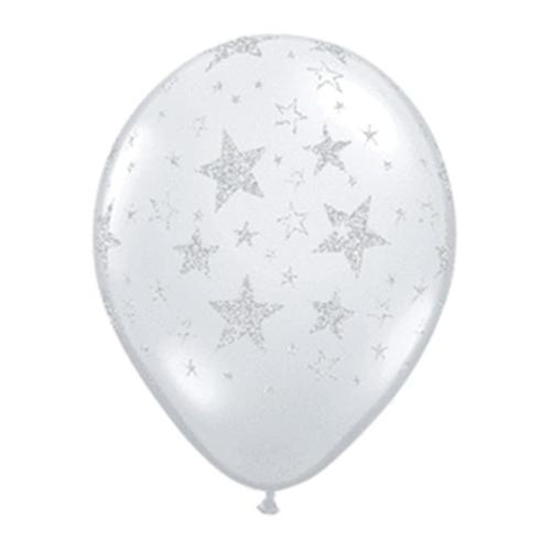 Mayflower Balloons 10776 11 Inch Glitter Stars-a-Round Clear Pack Of 25