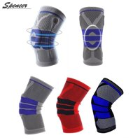 """Spencer 1PC Sport Compression Knee Support Brace Silicone Knee Padded Sleeve for Arthritis Relief, Pain Relief, Meniscus Tear Arthritis Recovery """"L,Red"""""""