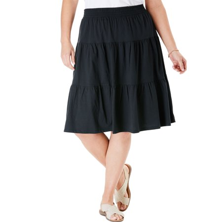 Woman Within Plus Size Jersey Knit Tiered Skirt - Plus Size Hippie Skirts