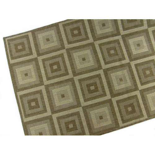 American Mills Pyramid Blocks Brown/Tan Indoor/Outdoor Area Rug