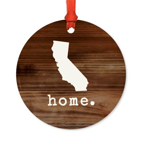 US State Round Metal Christmas Ornament, Rustic Wood Print, California, Includes Ribbon and Gift Bag ()