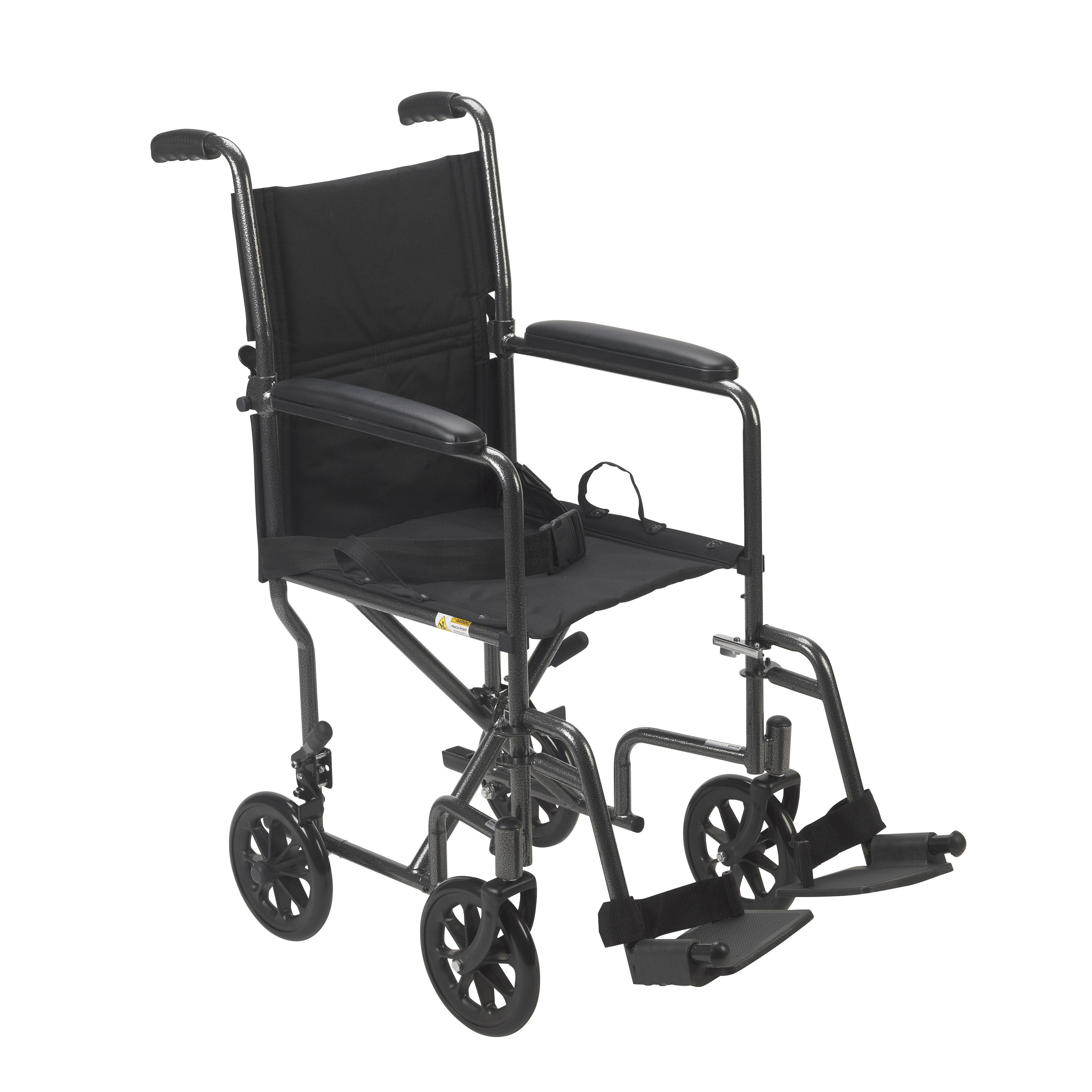 Drive Medical Lightweight Steel Transport Wheelchair, Fixed Full Arms