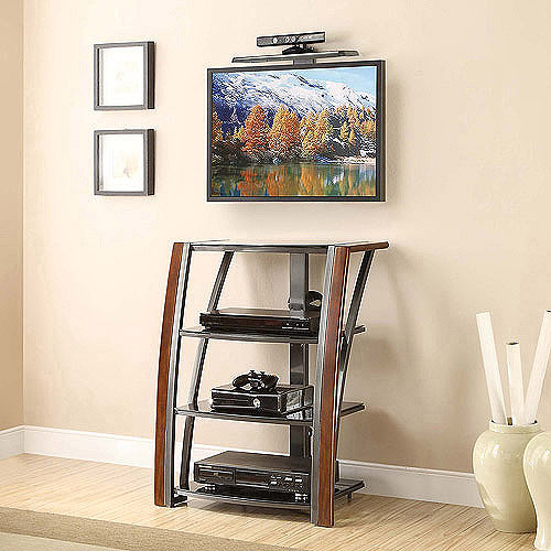 """Whalen Wall Mount and Component Tower for TVs up to 60"""", Dark Brown Cherry"""