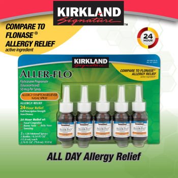 Kirkland Aller Flo Fluticasone Propionate  Glucorticoid  5 Bottles X 120 Metered Sprays  54 Fl Oz Per Bottle  15 84 Ml X 5  2 70 Oz Total  79 0 Ml Total  600 Total Sprays Total