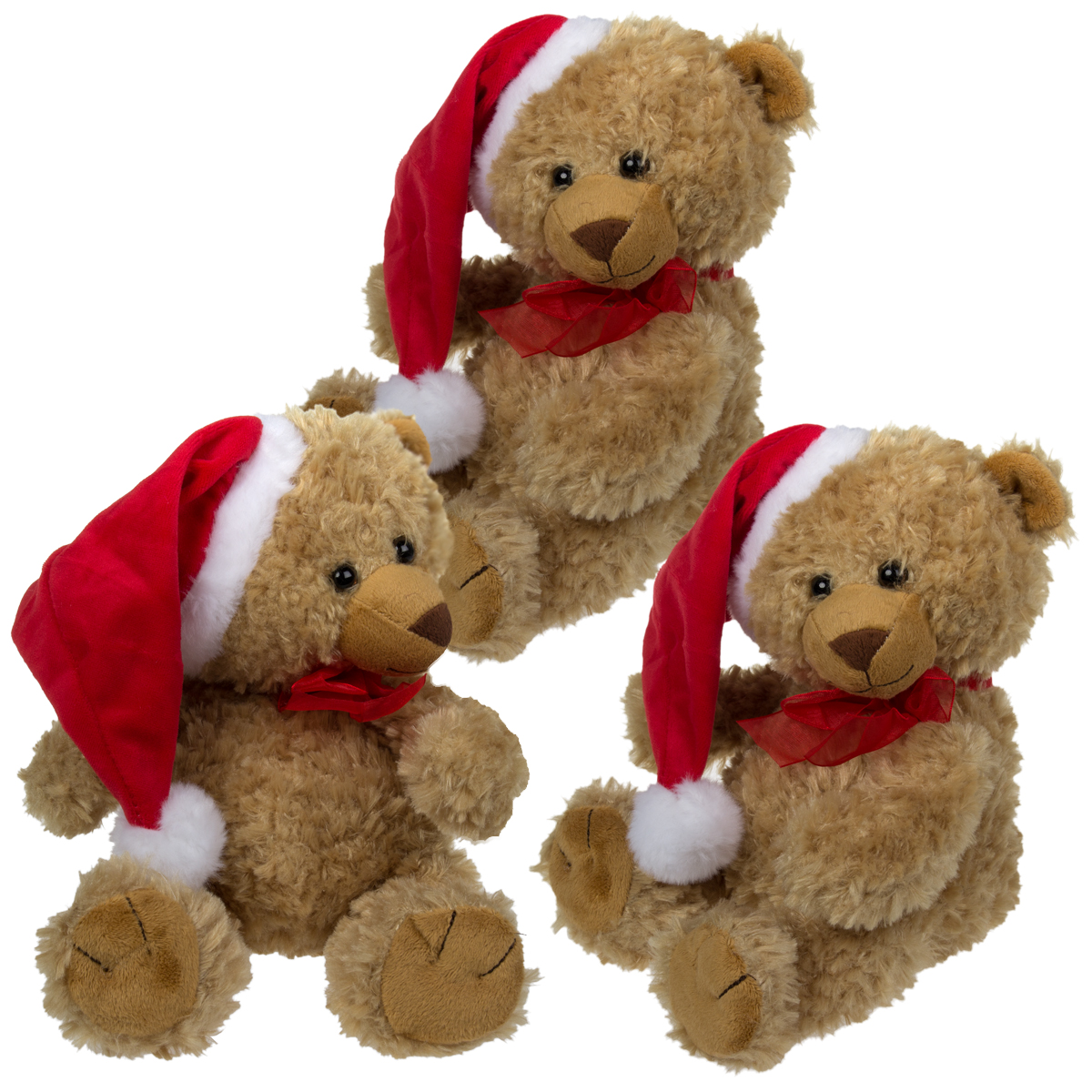 3 Pack Santa Hat Teddy Bears By The Petting Zoo Christmas Holiday Plush Stuffed Animals Christmas Gift by