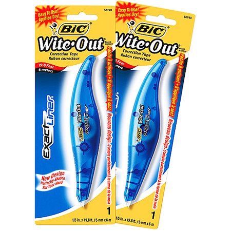 BIC Wite-Out Exact Liner Correction Tape, 1/5; X 19.8 Feet, 2Pk