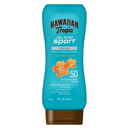 Tropic Vent - Hawaiian Tropic Island Sport Broad Spectrum Sunscreen Lotion SPF 50 - 8 Ounces