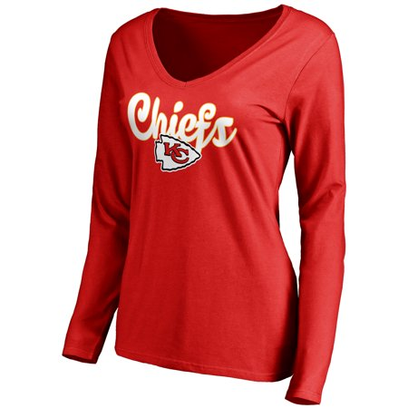 - Kansas City Chiefs NFL Pro Line Women's Freehand V-Neck Long Sleeve T-Shirt - Red