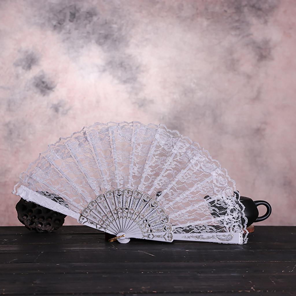 Folding Chinese Style Wooden Dance Wedding Party Lace Silk Hand Held Flower Fan