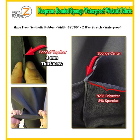 Big Z Fabric® Neoprene Bonded Sponge Waterproof Wetsuit Fabric / Black 4mm / Sold By The - Morphsuit Material