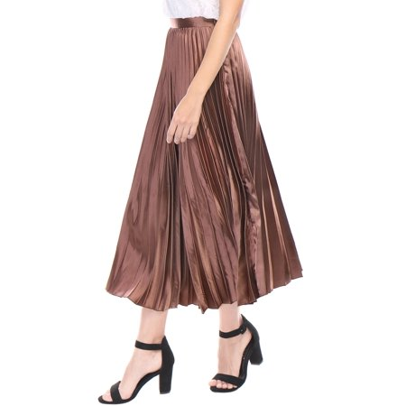 5520d8c6b Unique Bargains - Women Accordion Pleats Metallic Midi Skirt Copper ...