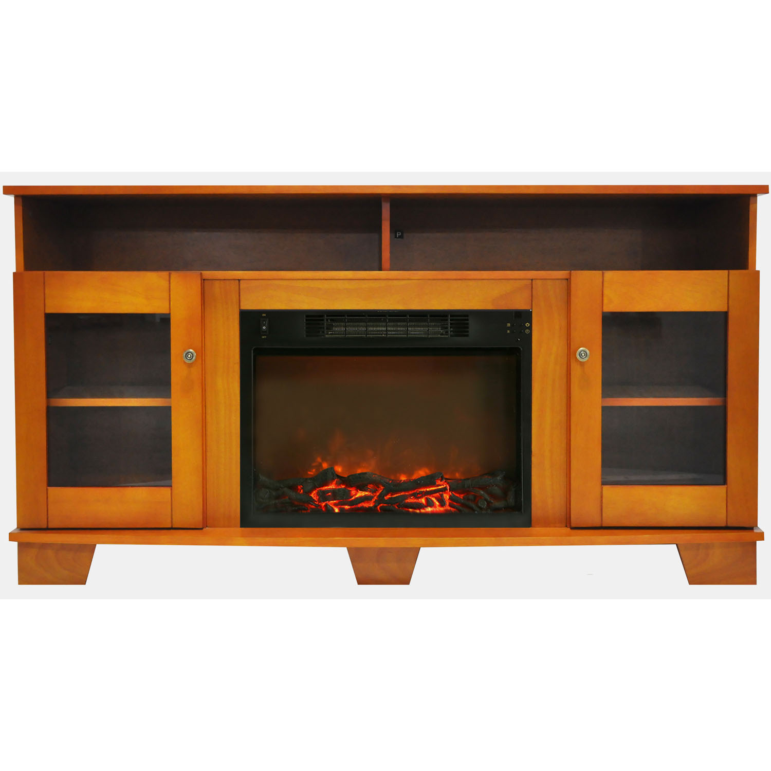 "Cambridge Savona Electric Fireplace Heater with 59"" Entertainment Stand and Charred Log Display"