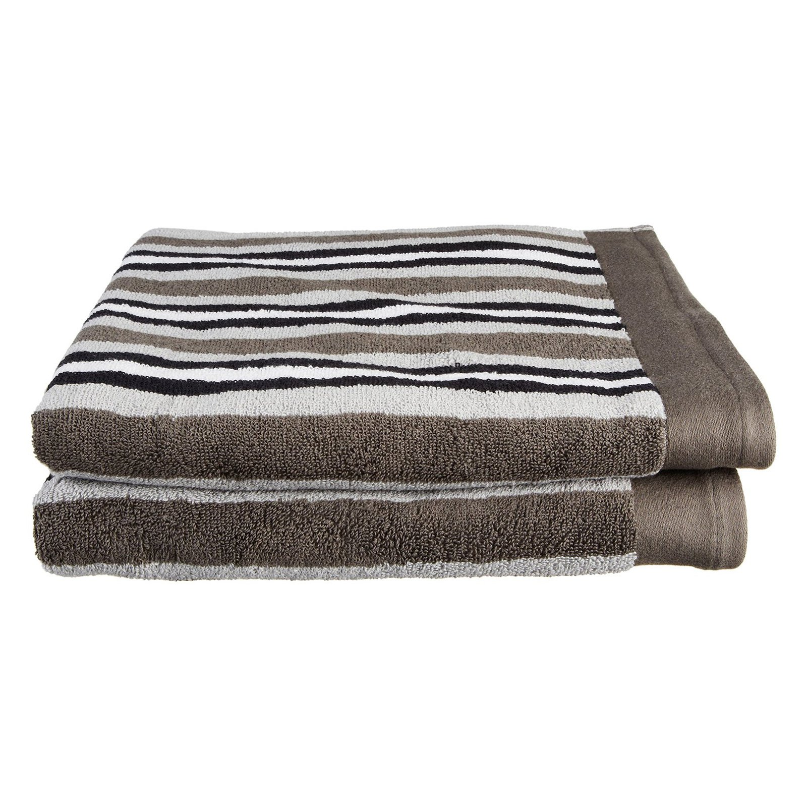 Superior Stripe 100% Long Staple Combed Cotton 2-Piece Bath Towel Set