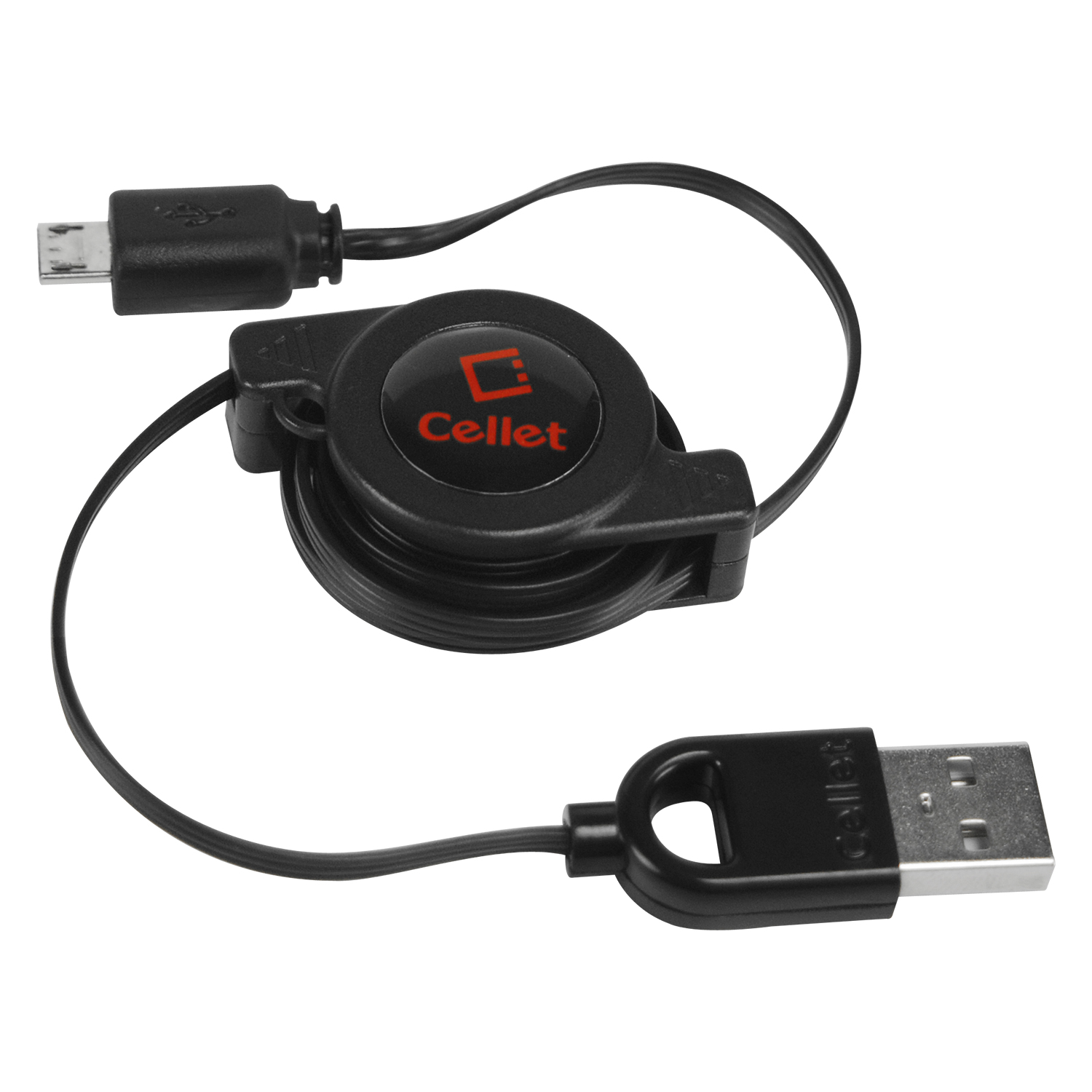 Cellet microUSB Retractable Charger and Data Cable (USB)