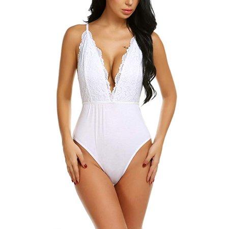Backless Teddie - LELINTA Women Snap Crotch Bodysuit Deep V Leotard Lace Backless Teddy Underwear