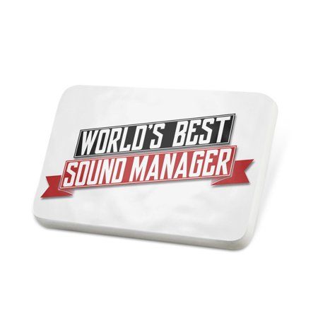 Porcelein Pin Worlds Best Sound Manager Lapel Badge –