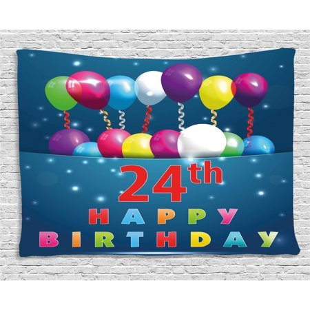 25th Birthday Decorations Tapestry 24th Party Joyous Mood Occasion Flying Baloons Stars Wall