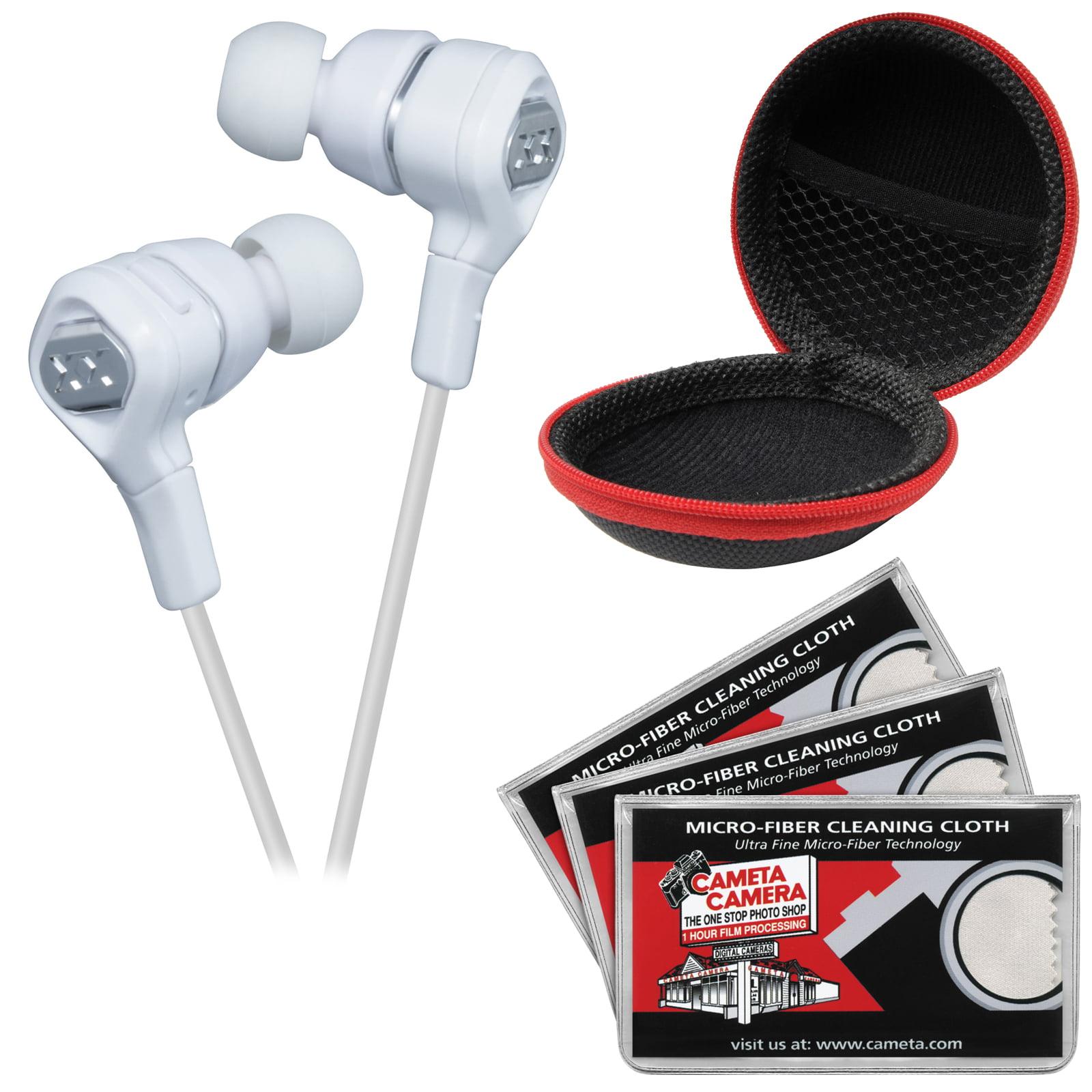 JVC HA-FR100X XX Elation Series Inner Ear Headphones with Remote & Mic (Silver) with Case & 3 Microfiber Cloths