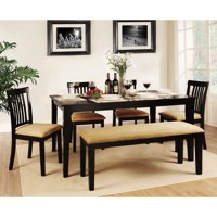 Homelegance Weston Home Tibalt 6 Piece Rectangle Black Dining Table Set - 60 in. with Mission Back Chairs & Bench
