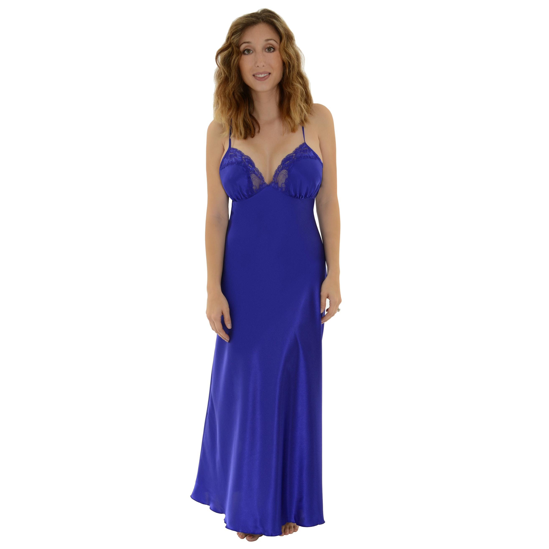Shirley Electric Blue Nightgown Womens Long Satin Charmeu...