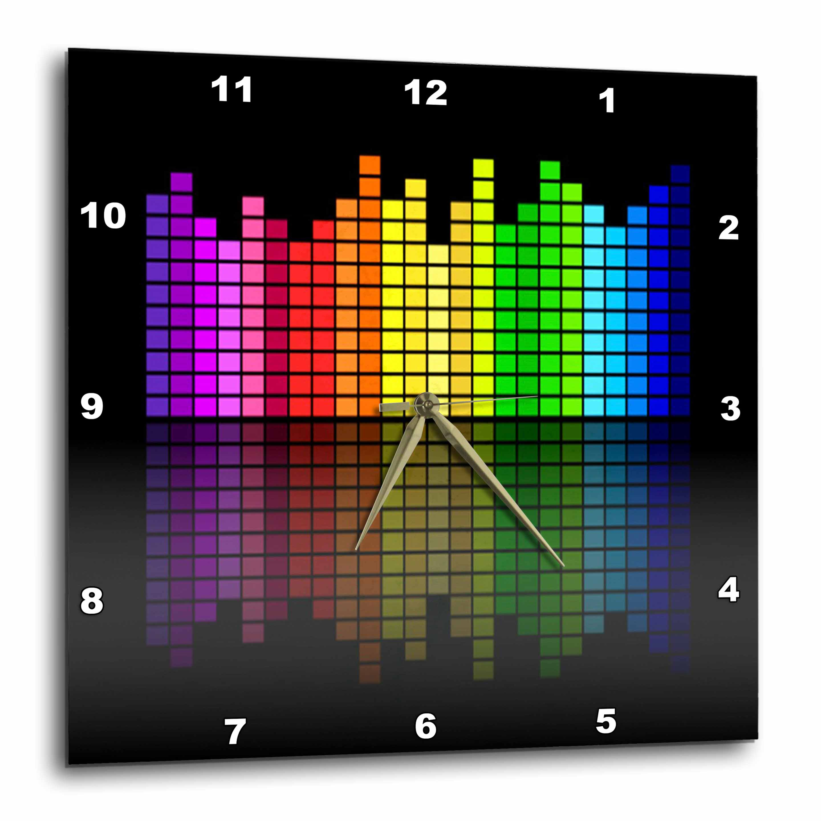 3dRose Pink Red Green Yellow Blue Music Equalizer On Black, Wall Clock, 13 by 13-inch by 3dRose