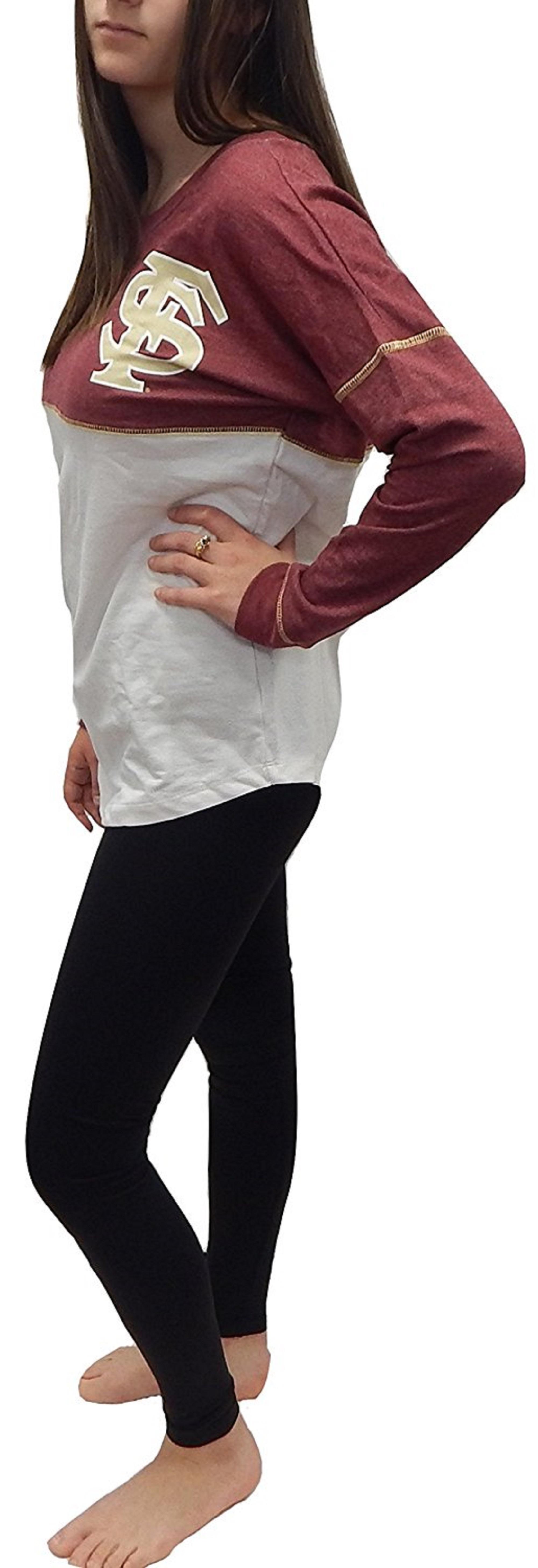 Florida State FSU Seminoles Officially Licensed Logo Junior Fit Drop Yoke Tee French Terry Long Sleeve T-Shirt (Medium) by Recylced Karma University