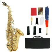 Muslady Brass Golden Carve Pattern Bb Bend Althorn Soprano Saxophone Sax Pearl White Shell Buttons Wind Instrument with Case Gloves Cleaning Cloth Belt Brush