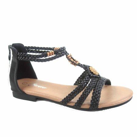 Sanne-20 Women's Braided Flat Heel Open Toe Ankle Strap Sandal Shoes