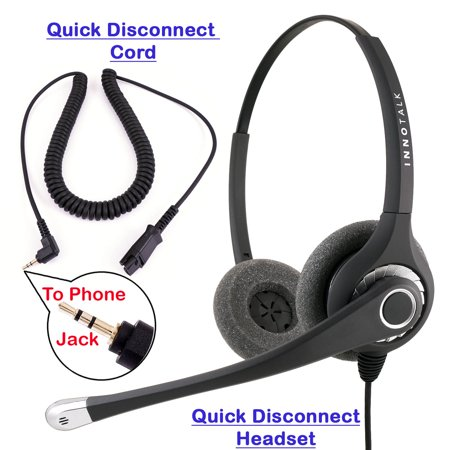 Plantronics Compatible QD cord Combo - InnoTalk Superb Sound Pro Binaural Headset + 2.5 mm headset jack Panasonic Hands Free Corded Headset