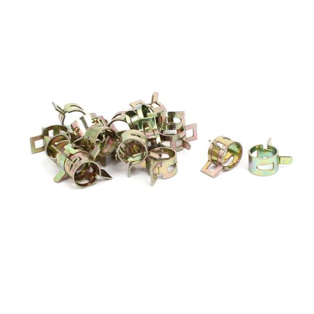 10.5mm Inner Dia Yellow Zinc Plated Water Pipe Fuel Line Hose Clamps Clips 20pcs
