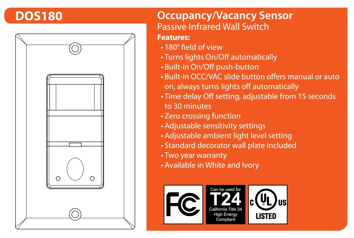 Nicor Lighting Occupancy Motion Sensor With 180 Degree Field Of View Delayed Off Light Switch White Dos180wh