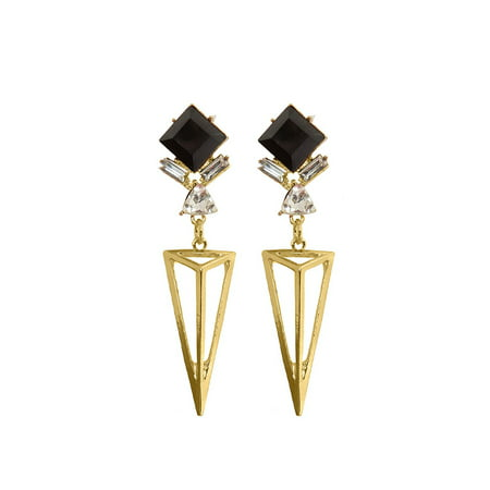 Designer Wood Earrings - Gold Diamond Bar Earrings for Women Designer Geometric Dangle Earrings Jewelry Online