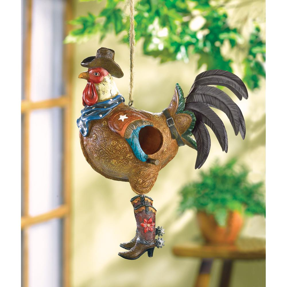 Bird Nest, Hanging Finch Chickadee Cowboy Birdhouse Rooster Cute Birdhouse by Bird Houses