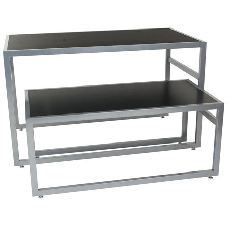 Displays2go 2-Piece Set of Rectangular Nesting Tables, Modern Lines, Steel Frame with MDF Counter