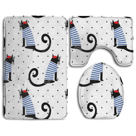 EREHome Cute Cat 3 Piece Bathroom Rugs Set Bath Rug Contour Mat and Toilet Lid Cover - image 1 of 2